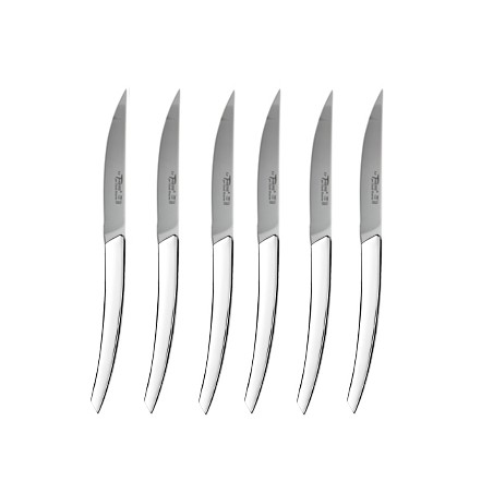 Wood box of 6 Thiers knives stainless steel handle