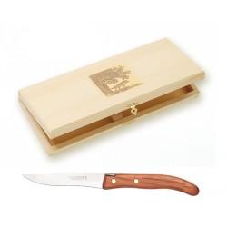 Coffret hêtre 8 couteaux super Laguiole mitre laiton