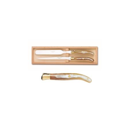 Coffret service à foie gras super Laguiole mitre laiton