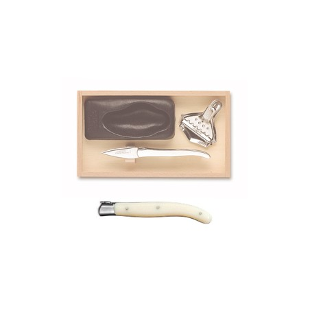 Wood box of Laguiole oyster set stainless steel bolster ivory handle