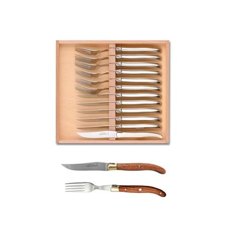 Coffret hêtre 6 couteaux et 6 fourchettes super Laguiole mitre laiton