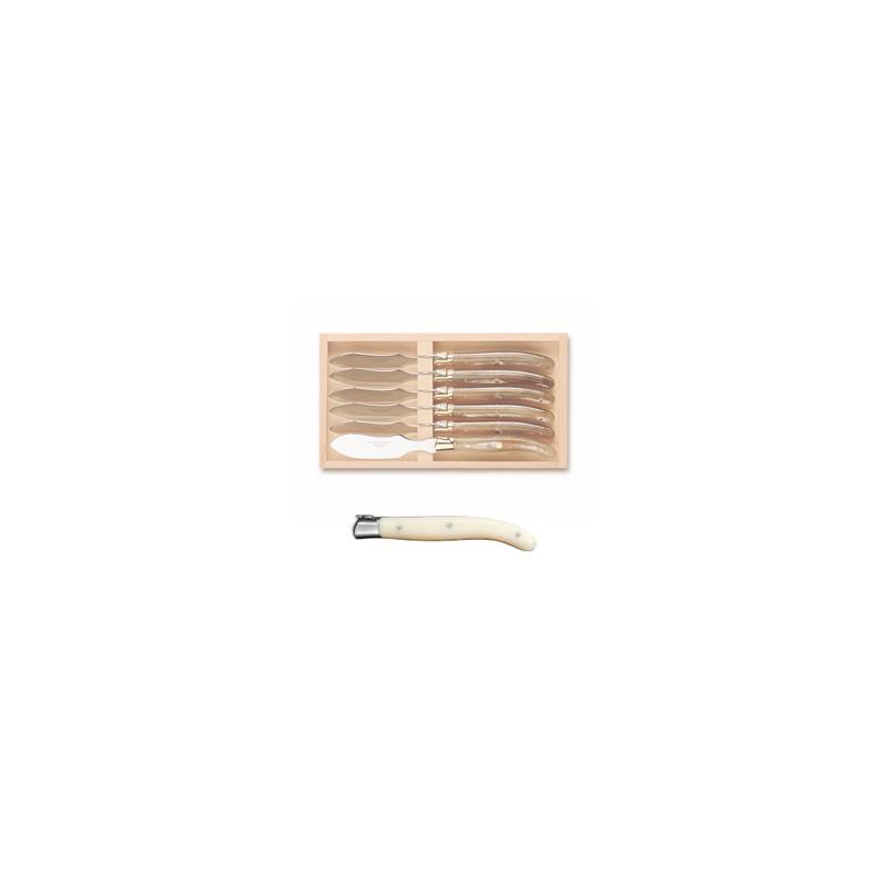 Coffret hêtre couteau à découper super Laguiole mitre inox manche nacrine ivoirine