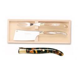 Coffret couteau à foie gras super Laguiole mitre inox manche nacrine ivoirine