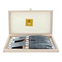 Coffret 6 couteaux individuels à foie gras super Laguiole plein manche