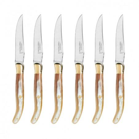 Coffret hêtre 6 couteaux super Laguiole mitre laiton