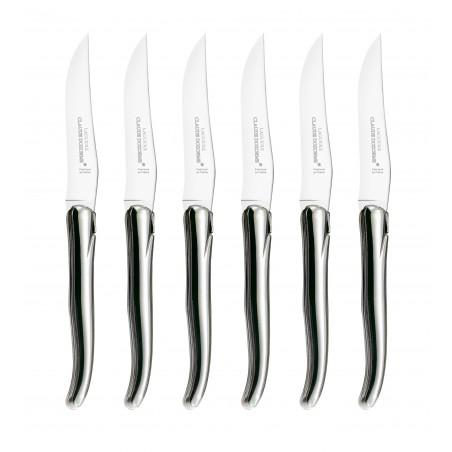 Wood box of 6 Laguiole knives no bolster